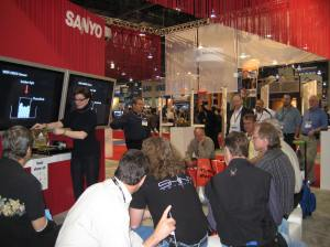 Demonstration at SANYO CCTV booth at ISC West trade show.