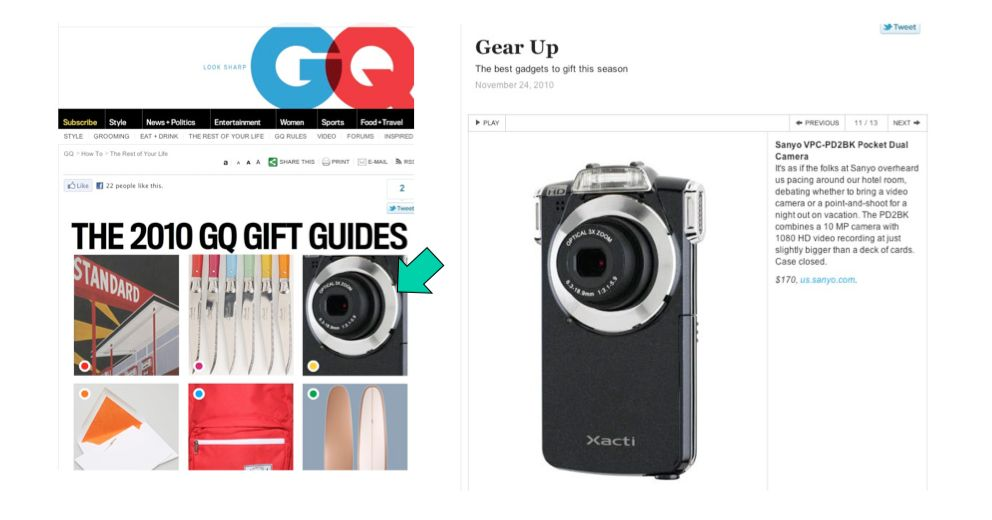 Clip of Sanyo Camera from GQ online magazine.